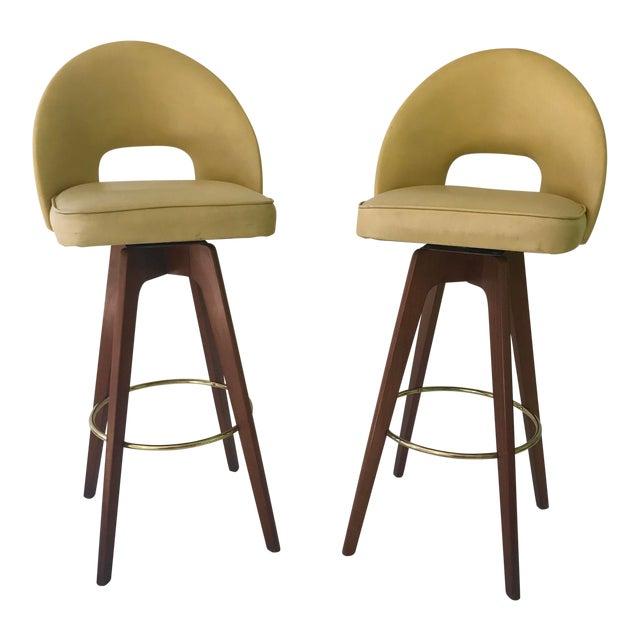 2733858c20759b Mid-Century Modern Walnut Swivel Barstools - A Pair | Chairish