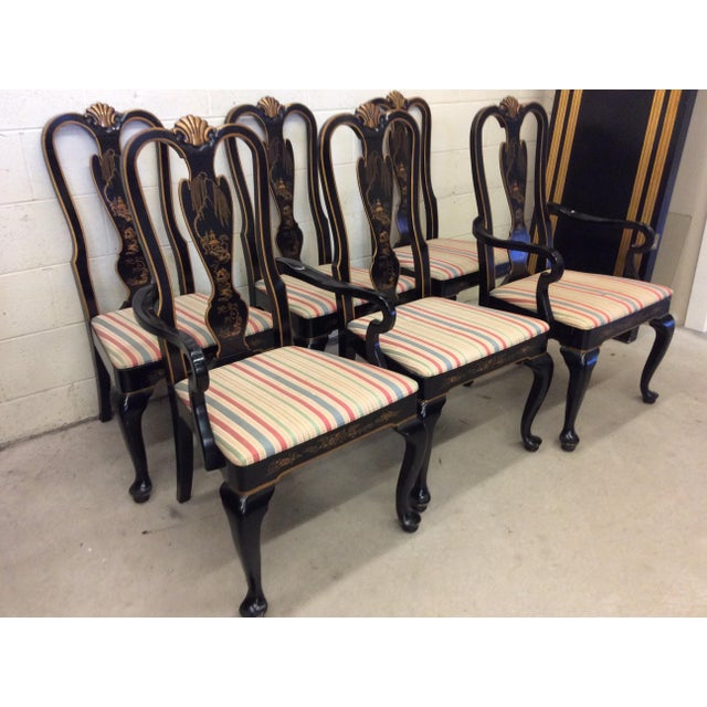 Asian Drexel Heritage Black Lacquer Asian Style Dining Chairs - A set of 6 For Sale - Image 3 of 11