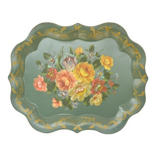 1950s Country Teal Painted Tole Tray