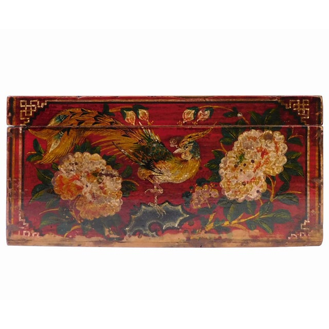 Vintage Red Flower Rectangular Wooden Box - Image 1 of 6
