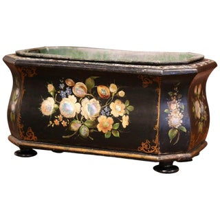 19th Century French Napoleon III Mother of Pearl and Painted Bombe Jardiniere For Sale