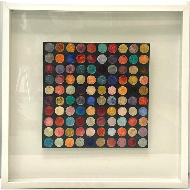 Abstract Abstract Polka Dot Oil Painting on Panel, Framed For Sale - Image 3 of 3