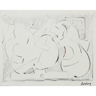 Paul McCoy Monochromatic American Modernist Abstract in Black Pencil, Circa 1960s For Sale