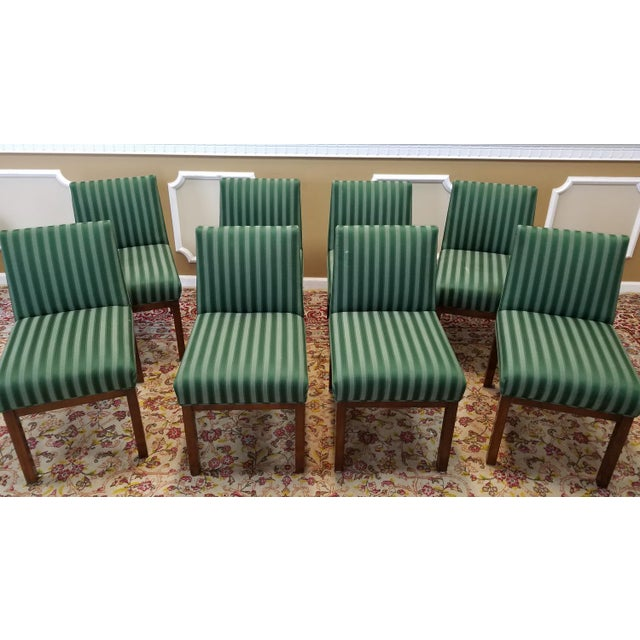 1970s Directional Contract Furniture Green Striped Upholstered Dining Room Chairs - Set of 8 - Image 6 of 11