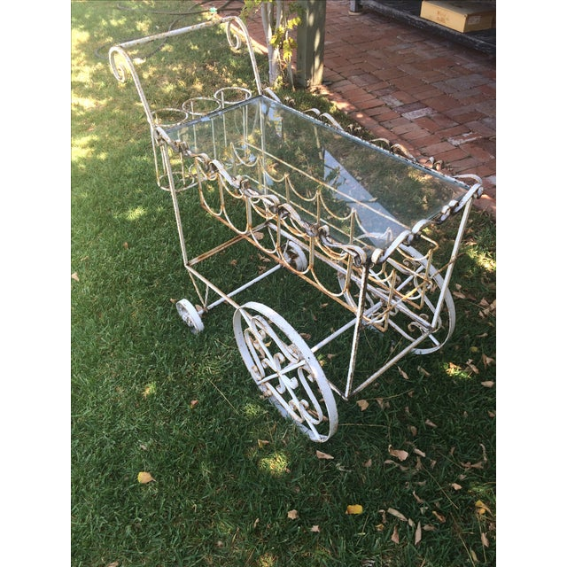 French Beverage Cart with Glass Top - Image 2 of 4