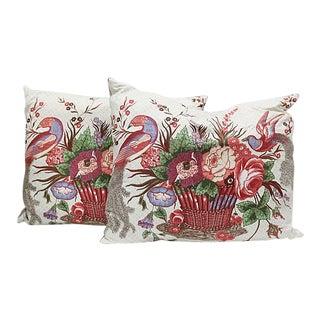 Vintage Sanderson Birds & Basket Pillows, Pair