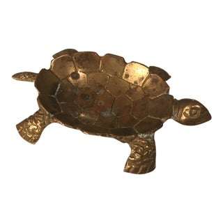 Vintage Brass Turtle Ring Jewelry Trinket Tray For Sale
