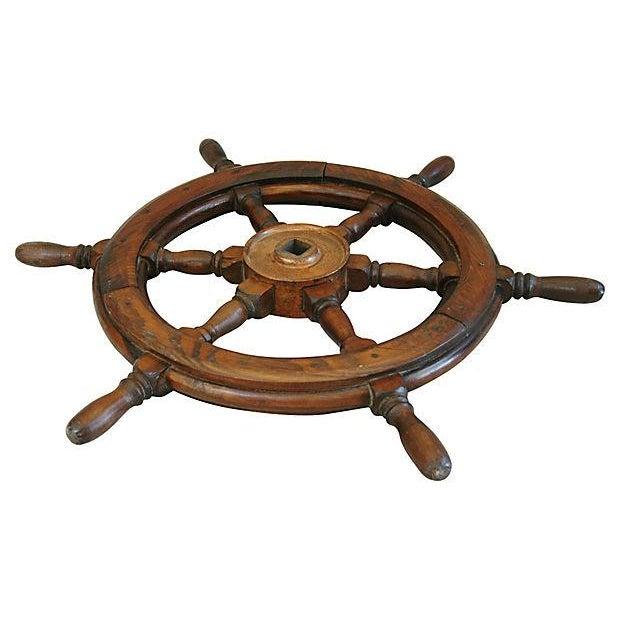 Vintage Mahogany Nautical Ship's Wheel - Image 3 of 4