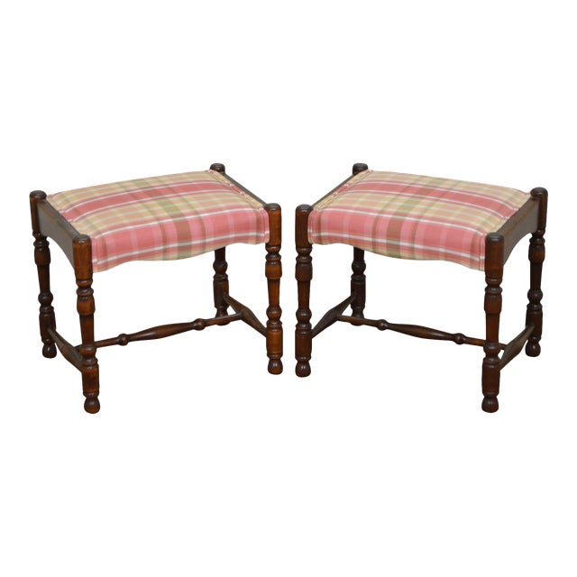 William & Mary Style Bobbin Turned Walnut Stools or Benches - A Pair For Sale