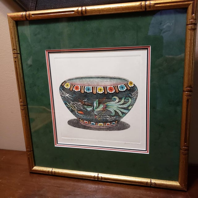 """1960s Vintage """"Chinese Bowl Ii"""" Dan Mitra Frame Signed & Numbered Print For Sale - Image 5 of 8"""