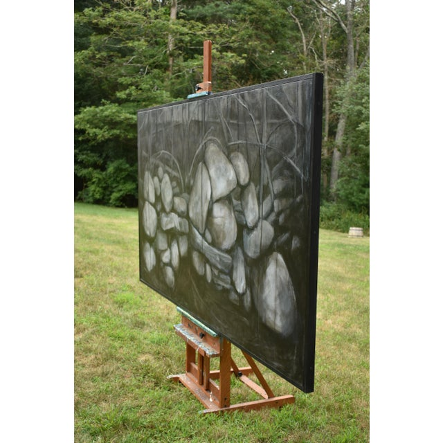 Large Painting of a Stone Wall For Sale - Image 9 of 11