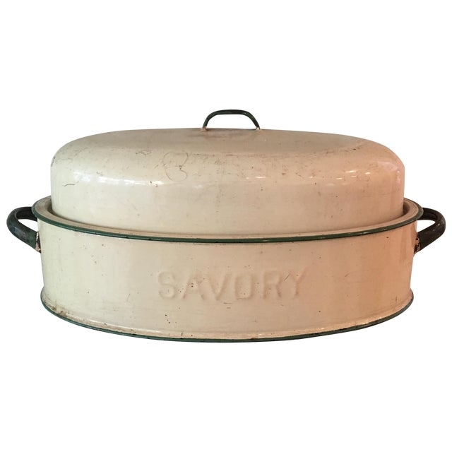 Vintage Savory Enamel Roasting Pan With Lid For Sale