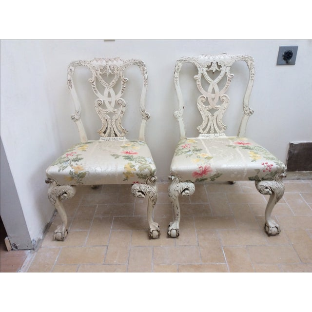 Great looking pair of claw and ball chippendale chairs from either the 19th century or late 18th century. Carved eagle...