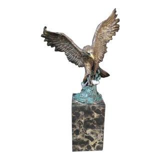 Modern Bronze Al-290 Flying Eagle & Fish Figurine on Marble Base For Sale