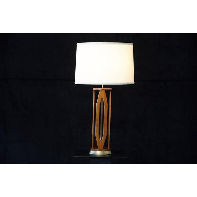 Geometric Teak Table Lamp with Brass Base For Sale - Image 4 of 10