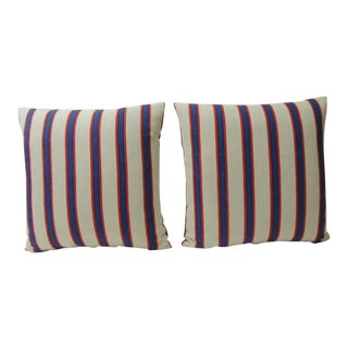 Pair of Blue & Red Awning Stripes Linen Decorative Pillows For Sale