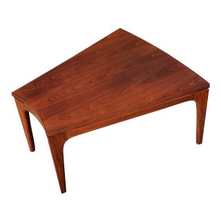 1960s Mid Century Modern Walnut Wedge End Table For Sale
