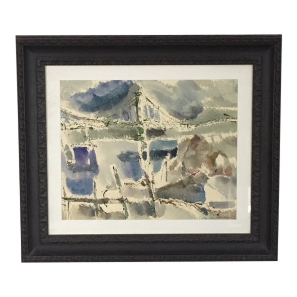 """Narrows Bridge"" Abstract Watercolor by George Kosanovic 1977 For Sale"