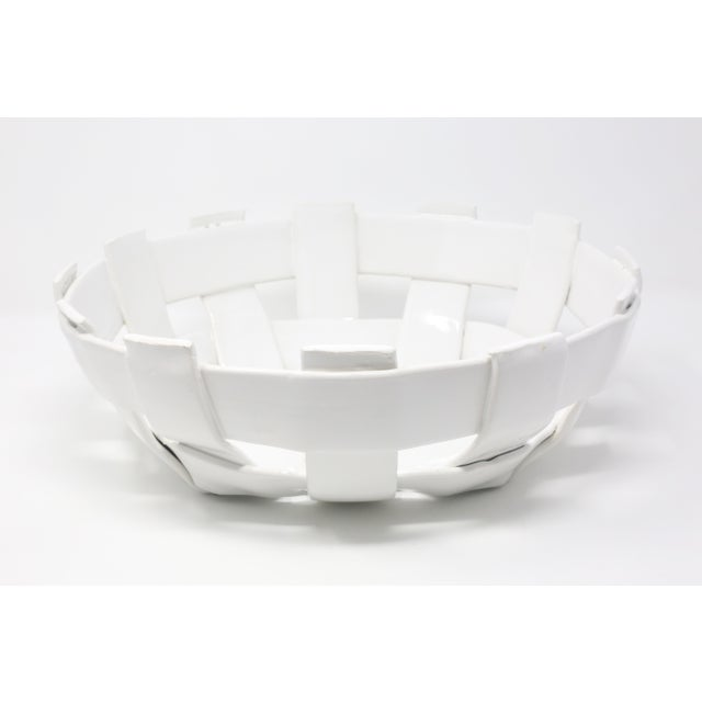 Vintage Handmade Ceramic Basket For Sale In Tampa - Image 6 of 11