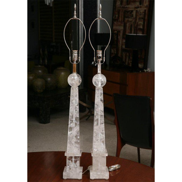 Pair of rock crystal lamps of modified obelisk form.