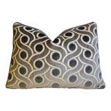 """Image of Osborne and Little & Scalamandre Velvet Feather/Down Pillow 22"""" X 16"""" For Sale"""