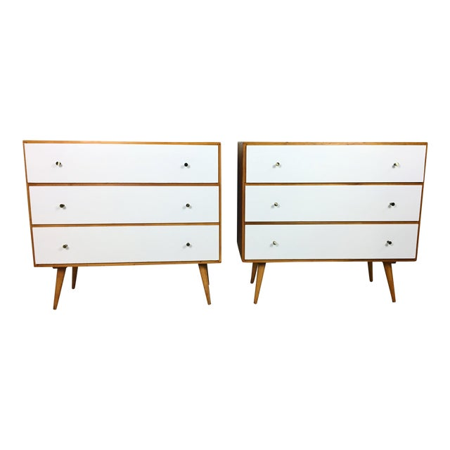 Pair of Paul McCobb Style Dressers with Painted Drawers - Image 1 of 7