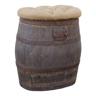 Oak Whiskey Barrel with Tufted Hinged Top For Sale