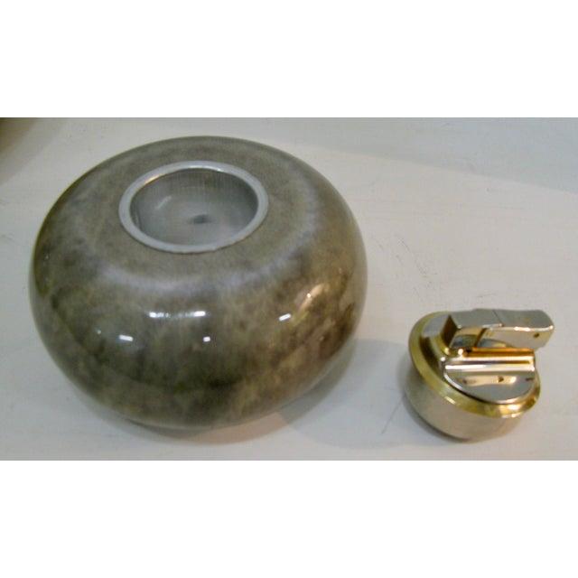 Rare Set of Aldo Tura Jade Green Goat Skin & Brass Bowl & Matching Lighter c.1950 For Sale - Image 11 of 13