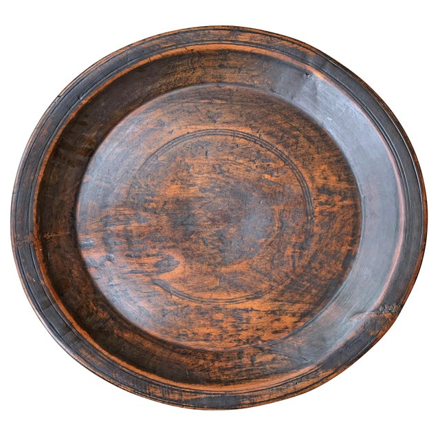 Large 19th Century Antique Turned Wood Tray For Sale