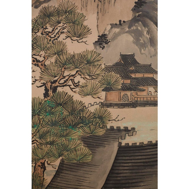 Japanese Six Panel Meiji Landscape Screen For Sale - Image 9 of 13