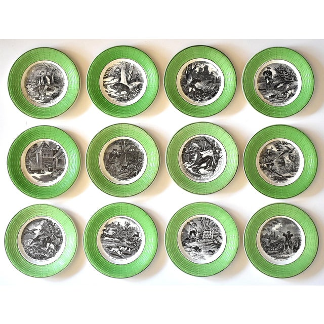 Antique French Digoin & Sarreguemines Hunting Scenes Plates - Set of 12 For Sale - Image 13 of 13