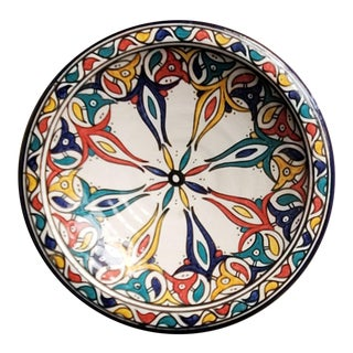 Moroccan Hand Painted Pottery Plate For Sale