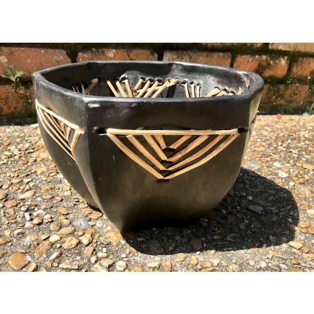 Vintage Handmade Clay Bowl With Straw Detailing For Sale - Image 10 of 10