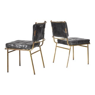 Mathieu Mategot Rare Pair of Brass and Leather Chairs, France