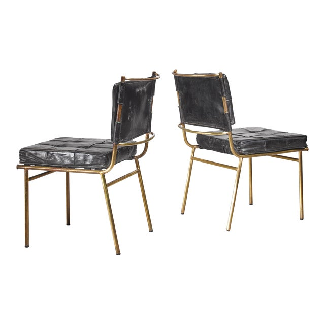 Mathieu Mategot Rare Pair of Brass and Leather Chairs, France For Sale