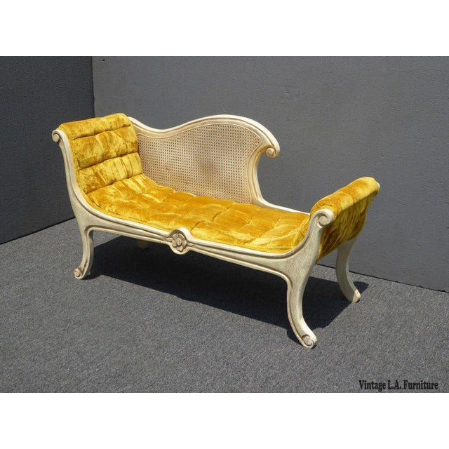 French French Provincial White Cane & Gold Velvet Bench Settee For Sale - Image 3 of 11