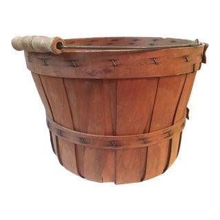 Vintage Wooden Bushel Basket For Sale