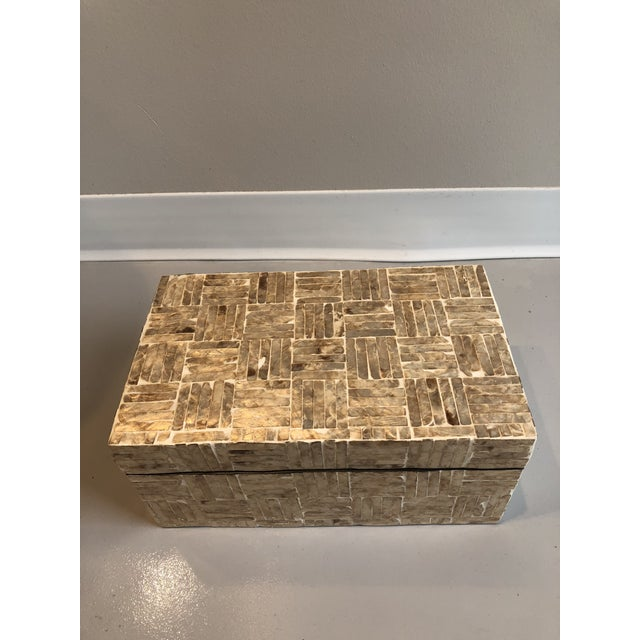 2010s Tozai Home Golden Mother of Pearl Criss Cross Box For Sale - Image 5 of 7