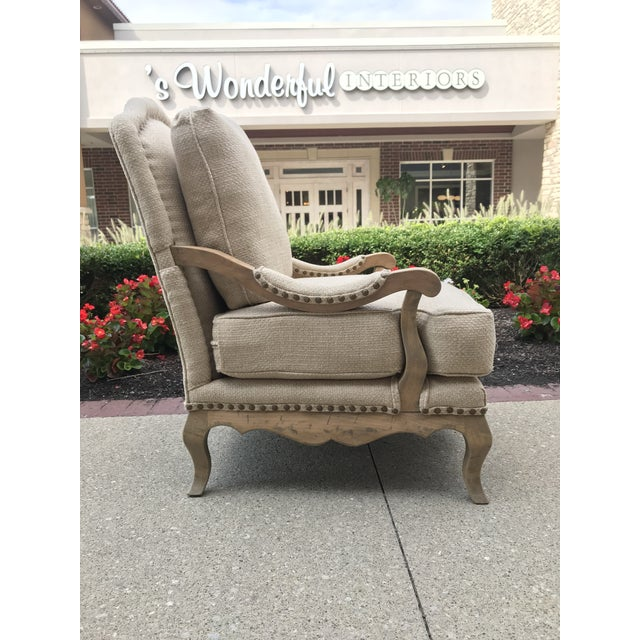 1990s Vintage Country French Bergere Chair and Ottoman Linen For Sale - Image 6 of 11