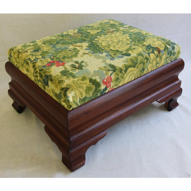 Early Carved 1900s Foot Stool w/ Scalamandre Marly Velvet Fabric - Image 9 of 11