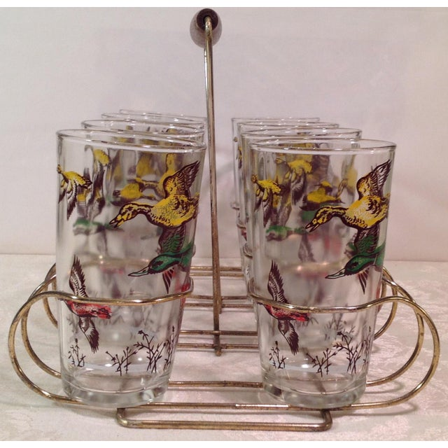 Mid-Century Modern Duck Glasses With Caddy- Set of 8 - Image 3 of 6
