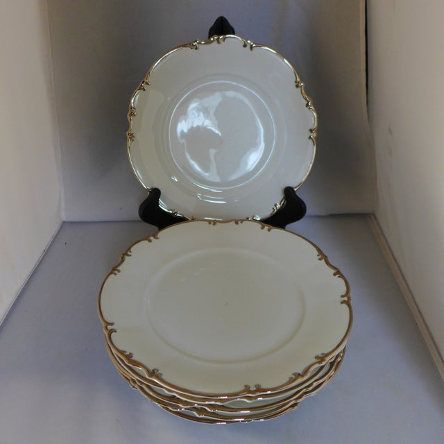 "Vintage set of six (6) dinner plates by Hutschenreuther Slyvia China. These features a platinum trim, ""Revere 8045"". One..."