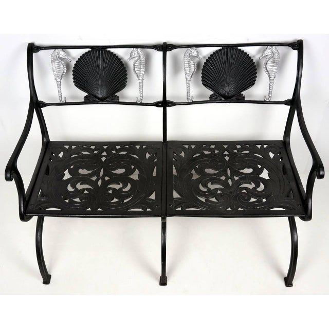 Silver Cast Aluminium Seahorse and Shell Motif Garden Settee by Molla, 1950s For Sale - Image 8 of 11