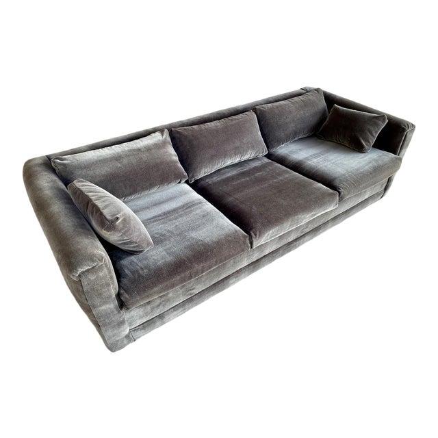 Restored 70s Gray Velvet Tuxedo Sofa For Sale