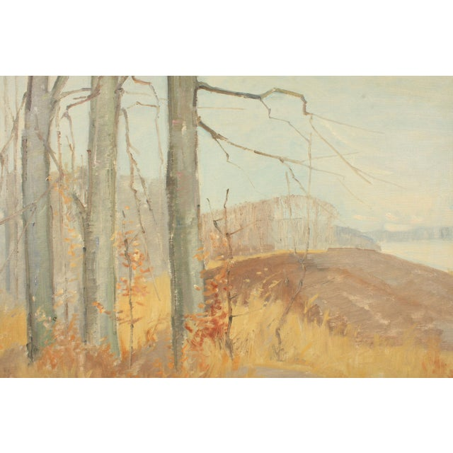 Mid-century Expressionist autumn landscape in muted colors featuring tall leafless trees on grassy hills. Jørn Glob...