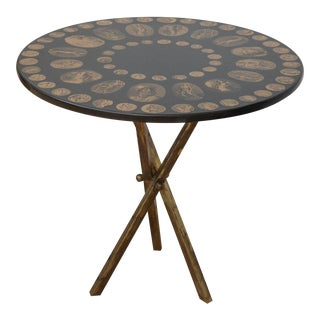 Fornasetti Black and Gold Italian Coin Table For Sale