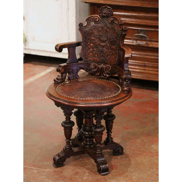 Metal 19th Century English Carved Oak and Embossed Leather Lady's Desk Armchair For Sale - Image 7 of 13