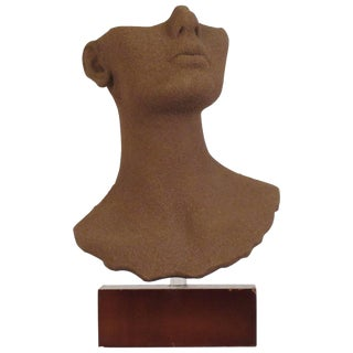 1970s Ceramic Bust With Sand Coating For Sale