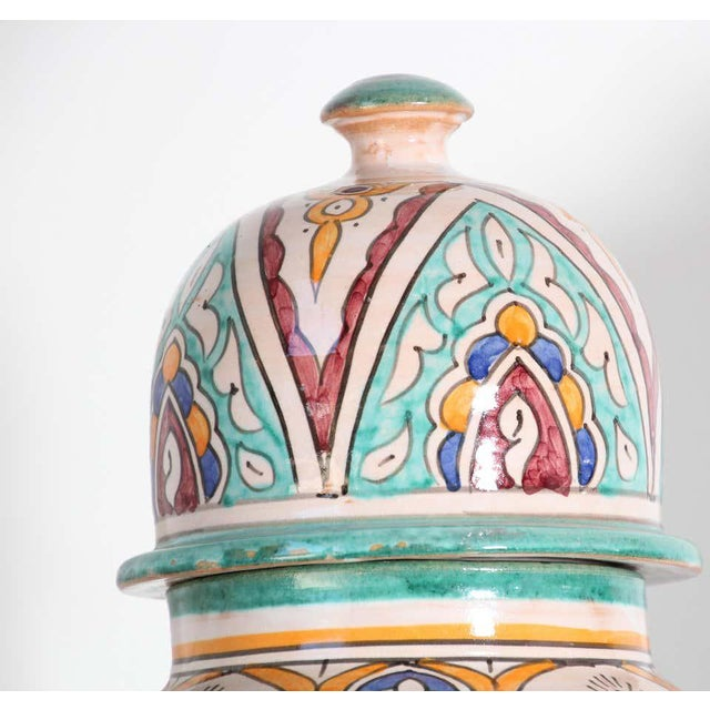 Large pair of Moroccan glazed polychrome ceramic jars tureen with cover. Hand painted ceramic Jubbana, handcrafted by...