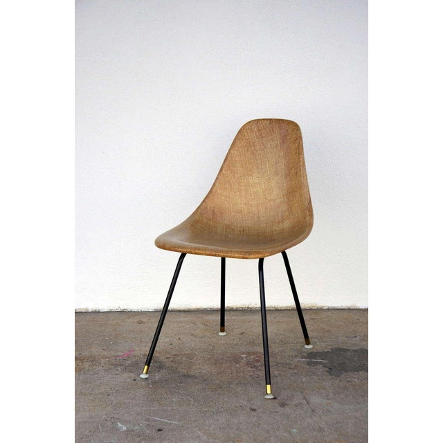 Mid-Century Modern Single Fiberglass Encasted Fabric Mesh Chair by Eames for Herman Miller For Sale - Image 3 of 8